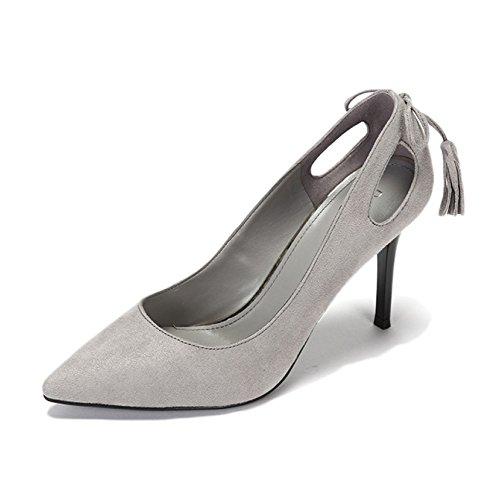 Femme Noir Haute Talons Mode Sexy Travail Cour Chaussures De Mariage Daphne Élégant Tassel Bows Chaussures Party Nightclub,Gray145-9cm-EU:35/UK:3