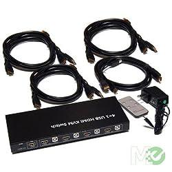 KVM-4UHM 4x1 USB HDMI KVM Switch-Bytecc