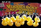 Rubber Duck Ducky Duckie Keychains Baby Shower Birthday Party Favors, 2'' x 2'' (2-Pack of 12)