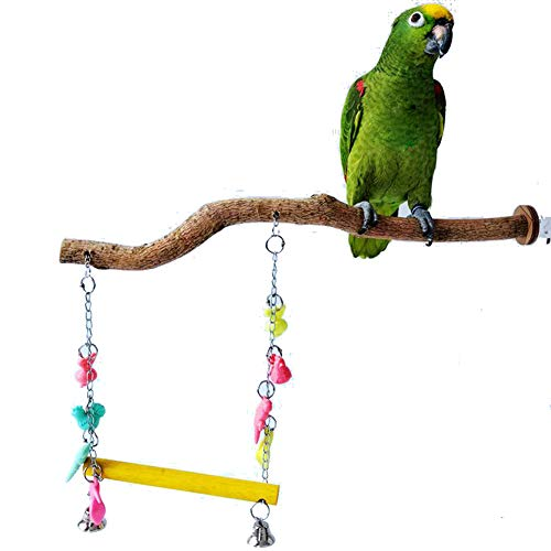 Bonaweite Bird Parrot Toys, Naturals Wood for Pet Trainning Playing, Stand Bars + Ladder Set for Cockatiel Conure Parakeet by Bonaweite