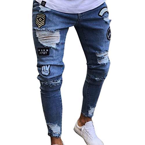Pantaloni Collage Estivi Uomo Distrutti Lavati Jeans Moderna Stampa Casual Mendicanti Blau Da Haidean zRwqPfF