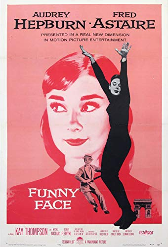 """DROB Collectibles 1957 Funny Face Audrey Hepburn Movie Poster Reprint - Vintage Theater Advertisement (17"""" x 25"""" Wall Decor Travel Poster) Archival Ink in Professional Photo Paper"""
