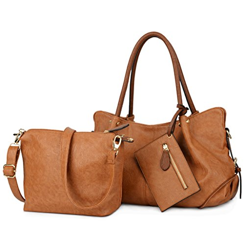 UTO Women Handbag Set 3 Pieces Bag PU Leather Tote Small Shoulder Purse Bags Wallet Strap Brown