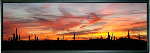 12 X 36 Inch Framed Panoramic Photograph on Canvas of a Soothing Colorful Red and Yellow Desert Sunset Among the Saguaro Cactus in Arizona.