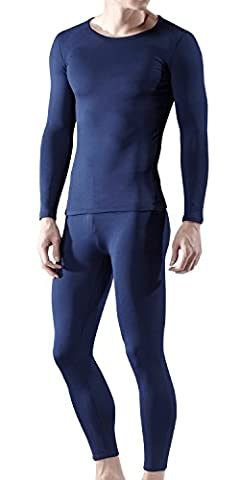 BU-MHS100-NVY_Medium Tesla Blank Men's Microfiber Fleece Lined Top & Bottom Set MHS100