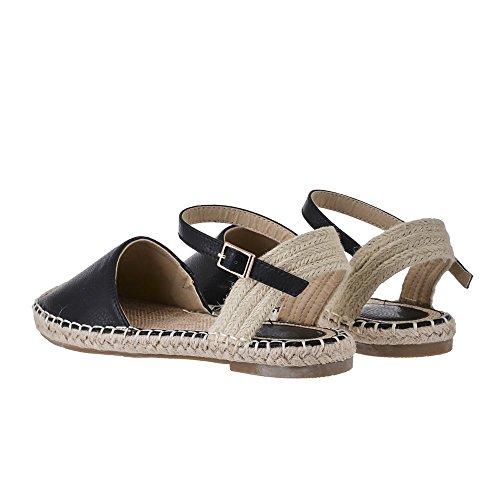 SADDIE. Flat Espadrille Ankle Strap Shoes Black Pu qkbXwfRrH9