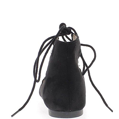 Bailarina negro afilada con el cordón y el aumento de las abrazaderas de tobillo