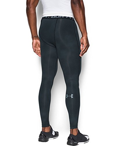 Under Armour Men's HeatGear Armour Printed Compression Leggings, Black/Steel, Small by Under Armour (Image #1)