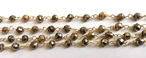 (3 Feet Natural Gold and Silver Pyrite 24k Gold Plated Faceted 3.5-4mm Rosary Wholesale Lot Beaded Jewelry Making Chain by LadoNarayani)