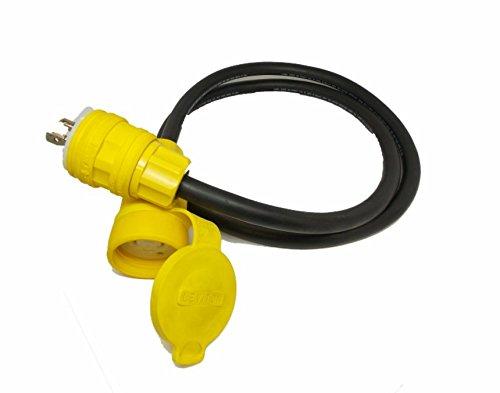 Power Assemblies PowerTEK Waterproof Assemblies Extension, UL Listed/CSA Certified, 30A 120/208VAC, 10/5 Gauge, Type SOOW-A Cable, Wetguard NEMA L21-30, 25' Length, Portable Power Cords