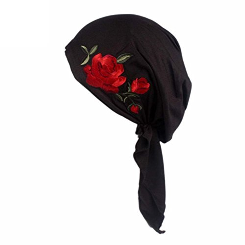 Wrap Embroidery (HOT!Head Wrap Cap ,BeautyVan Charming Women Rose Embroidery Cancer Chemo Beanie Scarf Head Wrap Cap (Black))