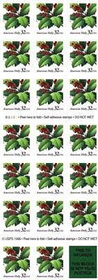 Christmas Holly 20 X 32 Cent Us Stamps 3177 New 1997 By Usps  Us Post Office Dept  Us Stamps