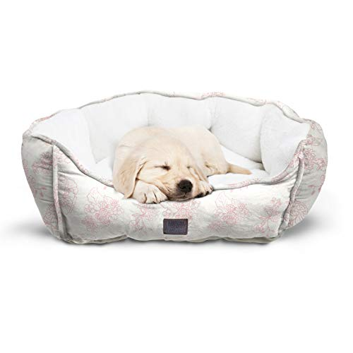 (Animal Planet Round Plush Micro Suede & Sherpa Bolster Pet Bed for Dogs & Cats, Puppies, Small & Toy Breeds; Cuddly & Warm for Burrowing & Snuggling, Easy-to-Clean 24