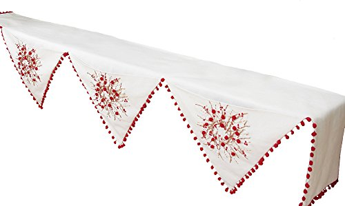 Xia Home Fashions Handmade Holiday Berry Wreath Ribbon and Pom Pom Embroidered Christmas Mantel Scarf, 79 by 58 by 22-Inch (Christmas Mantel Scarf)