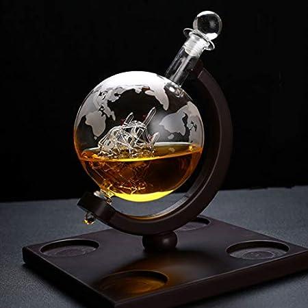 SUCHUANGUANG Whisky Decanter Globe Set con 4 Vasos de Whisky de Globo Grabados - para Botella de medición de Vidrio de Licor