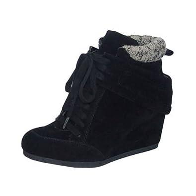 a1f08f8323d0 Amazon.com  Qupid OLEE-05 Vegan Faux Suede Round Toe Hidden Wedge Heel Lace  Up Wedge Sneaker Bootie