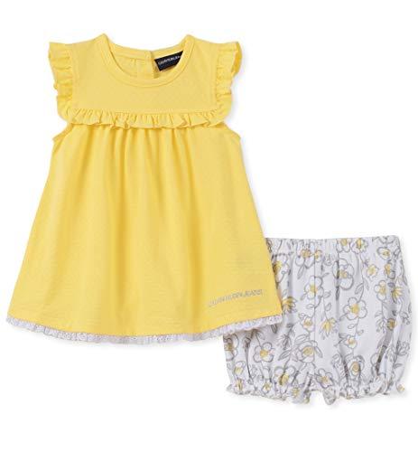 Calvin Klein Baby Girls 2 Pieces Shorts Set, Yellow/White Print, 3-6 Months -