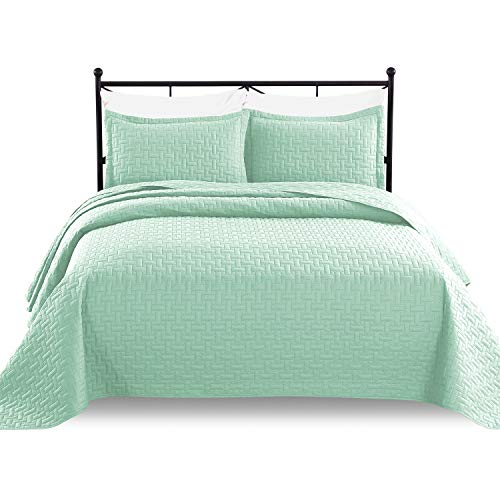 (Luxe Bedding 3-piece Oversized Quilted Bedspread Coverlet Set (Full/Queen, Mint))