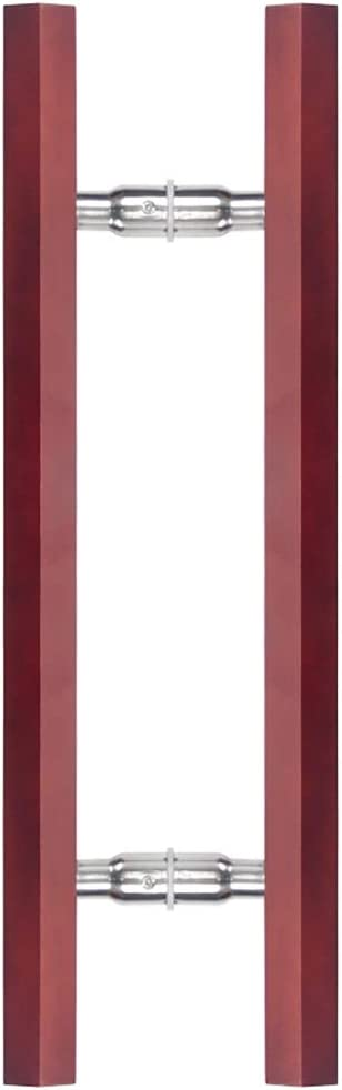 Length 60cm Wine Red Solid Wood Hexagon Door Handle for Tempered Glass Push-Pull Door//Sliding Barn Door//Bathroom Sauna Room