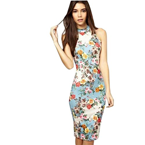 (NEARTIME Womens Dress, Floral Printed Cheongsam Design Casual Mini Pencil Dress (S, Blue))