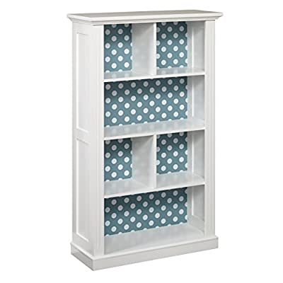 "Target Marketing Systems Ella Bookcase with 4 Shelves and a Reversible Back Panel of Either Solid Gray or Blue with White Polka Dots, Antique White - The Bookcase Measures 13"" X 32"" X 54"" and Weighs 55 Lbs. Arrives with Only Minimal Assembly Required. Showcase Your Favorite Books, Pictures, and Collectibles on this Antique White Bookcase for You and Your Guests to Admire. With a Reversible Back Panel that Features a Solid Gray on One Side and Blue and White Polka Dot Pattern on the Reverse Side, the Bookcase can Transition from Room to Room with Ease. Featuring 3 Open Shelves and 1 Divided Shelf, the Bookcase is Unlike Any Bookcase You've Owned. Decorative Molding and a Beveled Top give the Bookcase an Added Sophistication. - living-room-furniture, living-room, bookcases-bookshelves - 41jA2TE35VL. SS400  -"