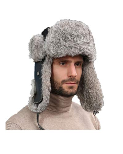 (Men Real Sheep Leather Rabbit Fur Cotton Lining Bomber Hat Winter with Earflap Warm Russian Hat Gray)