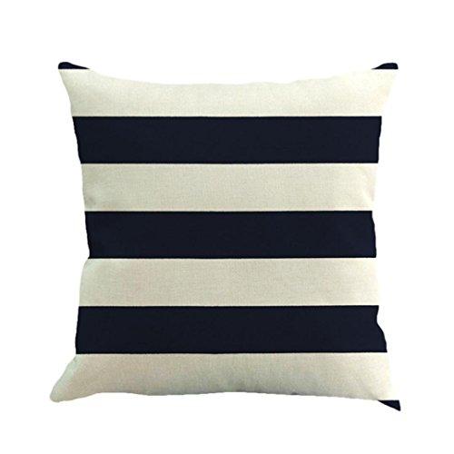 Kimloog Home Cushion Covers, Stripe Pattern Invisible Zipper Sofa Waist Linen Throw Pillow Case (Navy)