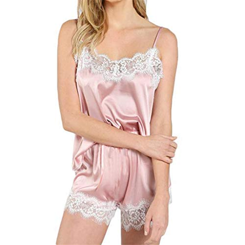 Forthery Women Sexy Lingerie Set Floral Lace Strappy V Neck Bustier Tops Bowknot Shorts Babydoll Temptation Underwear(Pink,S) (Best Affordable Washer And Dryer 2019)