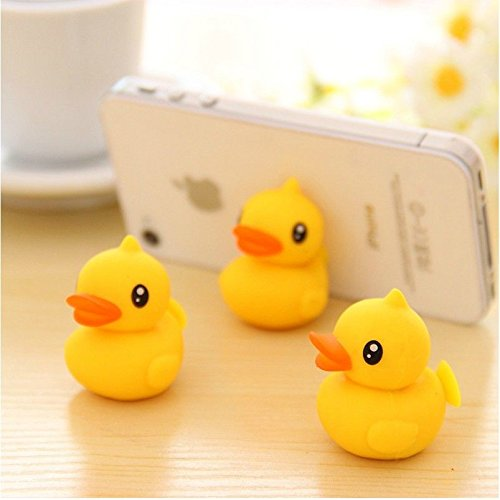 Geekercity 3Pcs Cute Cartoon Mini Yellow Duck Universal Stand Rubber Silicone Sucking Sucker Desktop Holder for Smartphones Mobile Cell Phones]()