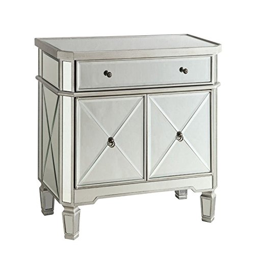 Mirror Panel 2-Door Wine Cabinet with Removable Wine Rack Silver by Coaster Home Furnishings (Image #3)