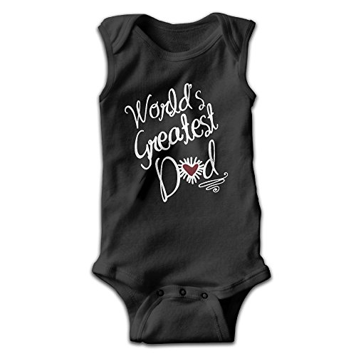 Baby Infant Romper Worldâ€s Greatest Dad Sleeveless Jumpsuit Costume 12 (Baby Black Military Romper Costumes)