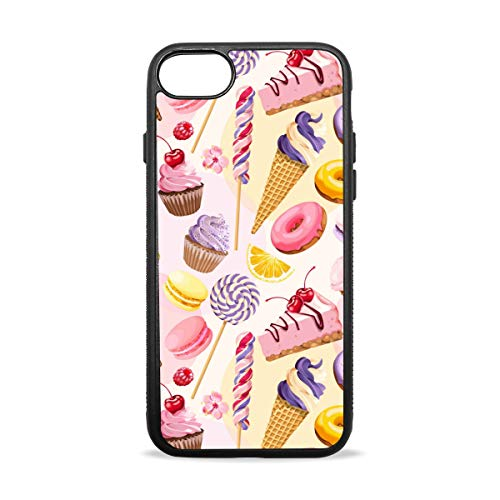 (Pink Cherry Blossom Cake iPhone 8/8 Plus case, iPhone 7/7 Plus Case, Slim-Fit Matte TPU Clear Bumper Flexible Rubber Silicone Rugged Thin Protective Phone Case Cover )