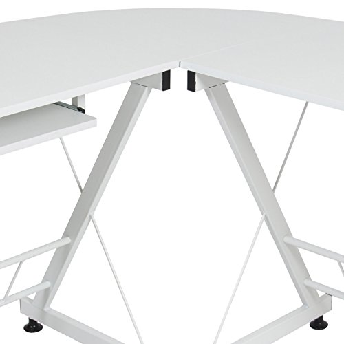 Best Choice Products Wood L-Shape Corner Computer Desk PC Laptop Table Workstation Home Office White by Best Choice Products (Image #3)