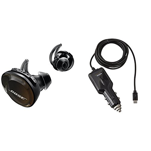 Bose SoundSport Free Truly Wireless Sport Headphones - Black with AmazonBasics Micro USB Car Charger by Bose