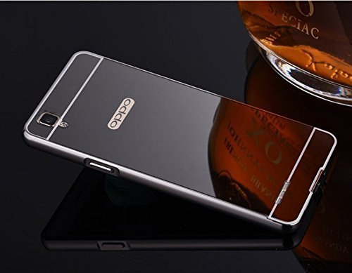 CEDO-Premium-Luxury-Metal-Bumper-Acrylic-Mirror-Back-Cover-Case-For-Oppo-F1-BLACK