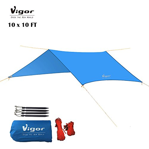 Vigor Water-Resistant Lightweight Rainfly 10x10 ft Rain Fly Large Tent Tarp for Camping, Blue