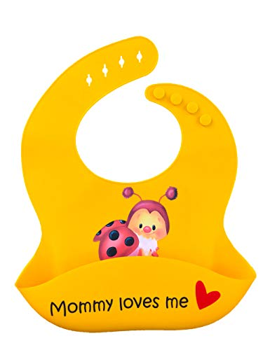 Easy Clean, Durable and Wipeable Premium Silicone Baby Bib - Made with Latest Nano Hybrid Technology by HEALTHY CARROT - BABY BUG