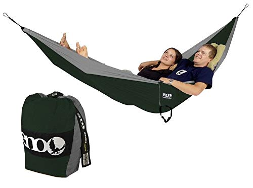 ENO - Eagles Nest Outfitters Double Deluxe Hammock, Portable Hammock for Two, Khaki/Olive/Silver