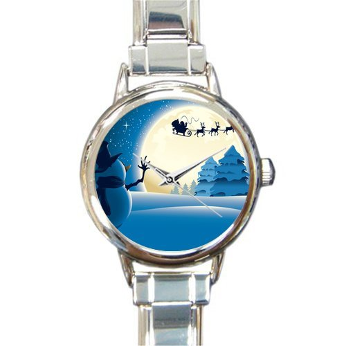 Personalized Watch Cute Snowman and Father Christmas with Reindeer Round Italian Charm stainless steel Watch