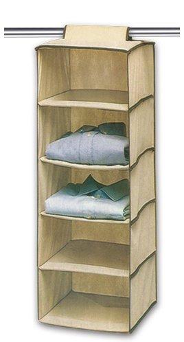 Ziz Home Hanging Clothes Storage Box (5 Shelving Units) Durable Accessory Shelves
