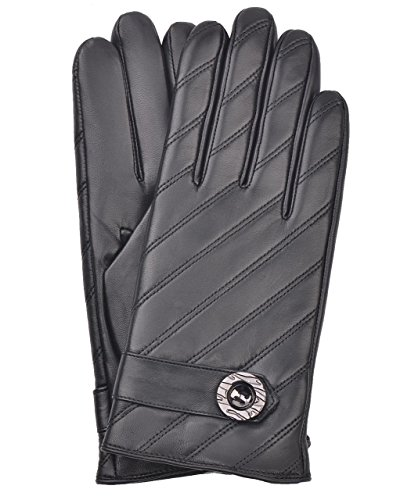 YISEVEN Men's Touchscreen Lambskin Leather Gloves Fleece Lined Diagonal Stripe and Button Belt Luxury Stylish for Winter Hand Warm Fur Lined and Motorcycle Driving Christmas Xmas Gift, Black 11''/XXXL by YISEVEN (Image #5)