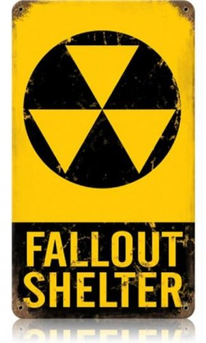 Fallout Shelter Warning Tin Metal Vintage Sign Reproduction ()
