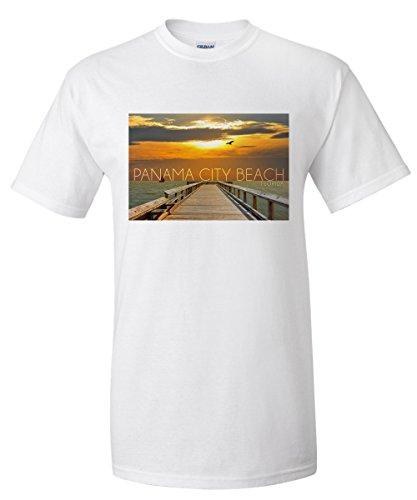 Panama City Beach, Florida - Pier at Sunset (White T-Shirt - Pier Florida City Panama Park