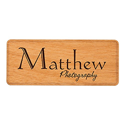 Rectangle Wooden Name Badge, Name Tag, Magnetic Backing Closure, Customized, Two Lines of Engraving Included