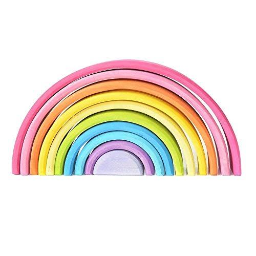 EcoWorkshop Wooden Rainbow Stacker Pastel Stacking Nesting Toys Montessori Stacking Toys Rainbow Wooden Toys for Toddlers Baby Rainbow Stacker 10 Pcs Pieces Large (Pastel 10 Pcs)