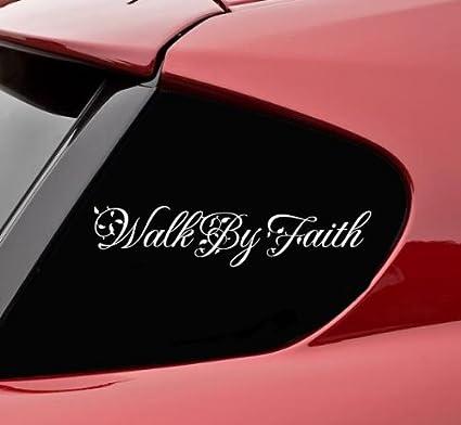 Walk by faith christian god jesus bible verse vinyl decal bumper sticker