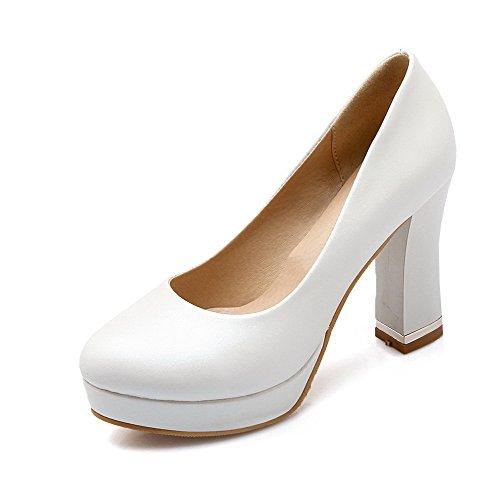 VogueZone009 Damen Ziehen auf Rund Zehe Hoher Absatz PU Leder Pumps Schuhe
