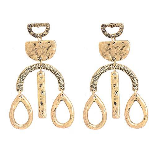 (Gudukt Long Vintage Weird Dangle Earrings Geometric Disc Drop Earrings for Women)