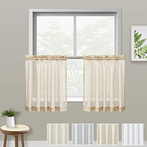 XWTEX Taupe Kitchen Tier Curtains Rod Pocket Linen Like Privacy Semi Sheer Drapes Half Window Curtain Panels for Bathroom, 1 Pair, 36