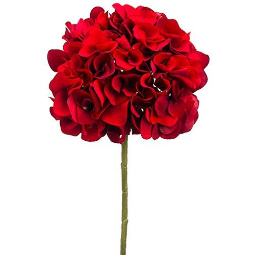 18.5'' Artificial Velvet Hydrangea Flower Spray -Red (pack of 12)